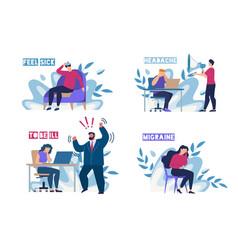 Sick people feeling unwell on workplace flat set vector