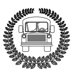 Silhouette crown of leaves with school bus vector