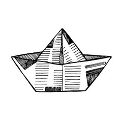 sketch toy paper ship is made of newspapers vector image