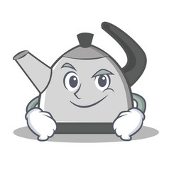 Smirking kettle character cartoon style vector