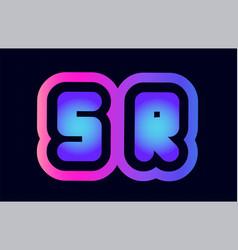 sr s r pink blue gradient alphabet letter logo vector image