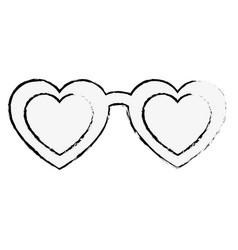 sunglasses with heart isolated icon vector image