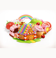 Sweet house confectionery and desserts 3d vector