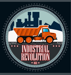 T-shirt or poster orange truck vector