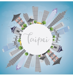 Taipei skyline with grey landmarks blue sky vector