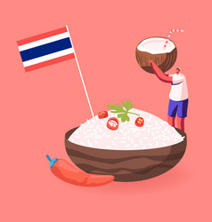 Thai food concept man hold coconut with straw vector