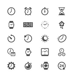 Time and clock glyph icons vector