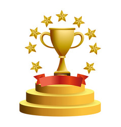 trophy cup with stars vector image