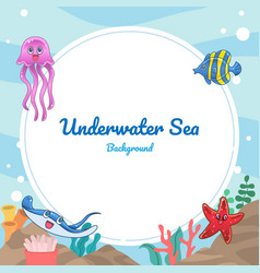 Underwater sea cartoon background vector