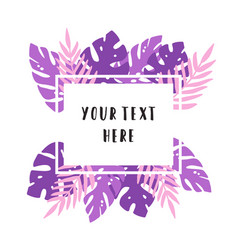 violet and pink tropical leaves vector image