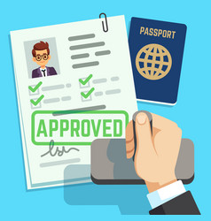 visa concept passport or visa application travel vector image