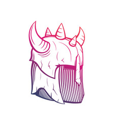 Warrior helmet with horns medieval armor vector