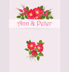 wedding invitation with bouquet of red dog rose in vector image