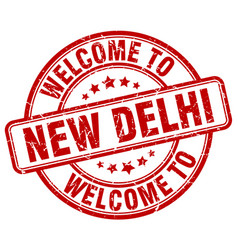 Welcome to new delhi red round vintage stamp vector