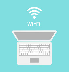 wi-fi icon on laptop screen wireless technology vector image