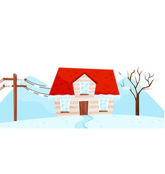 Winter view on small house tree and electrical vector