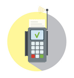 Wireless terminal icon with transaction approval vector