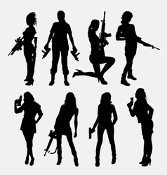 Woman and gun sexy pose silhouette vector