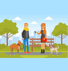 young man and woman walking with dogs in park vector image