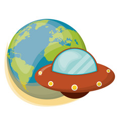 Earth ufo spaceship object vector
