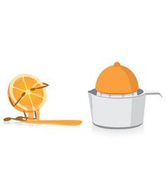 Half orange crying over squeezed half orange vector