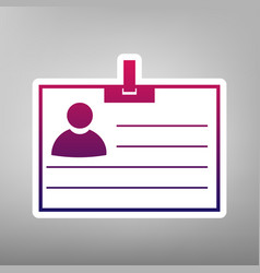 Id card sign purple gradient icon on vector