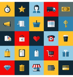 Set of flat online shopping and e-commerce icons vector image