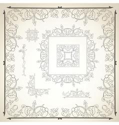 Floral frame and design elements vector image