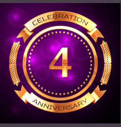 four years anniversary celebration with golden vector image vector image