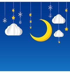 Hanging star moon cloud snow on night sky vector image