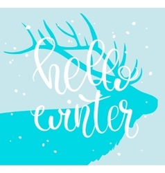 Hello Winter Brush lettering composition with vector image vector image