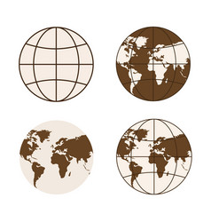 set of different types of globes vector image vector image