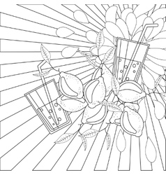 Coloring book page lemons and juice vector image vector image