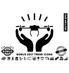Drone Launch Hands Flat Icon With 2017 Bonus Trend vector image