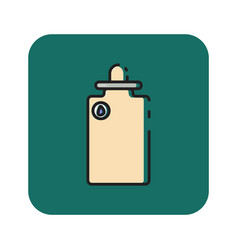 Flat color water bottle icon vector