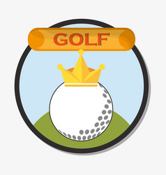 golf ball with golden crown emblem vector image