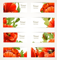 Set floral banners with fragments of red poppies vector image vector image