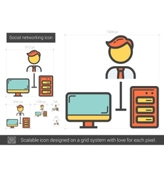 Social networking line icon vector image vector image