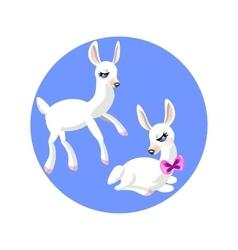 Two cartoon white gentle lamb vector image vector image