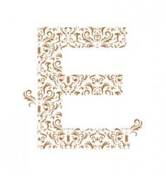 floral letter e ornament font vector image vector image