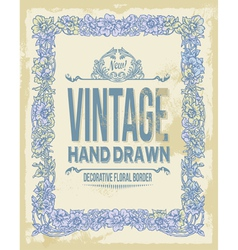 Vintage hand drawn floral decorative border vector image