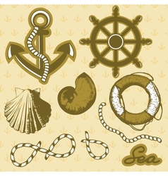 Vintage marine elements set includes anchor rope vector