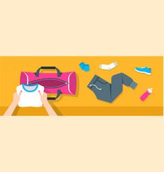 Woman puts fitness stuff into sport bag banner vector