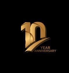 10 years gold elegant anniversary celebration vector