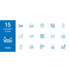 15 mom icons vector image