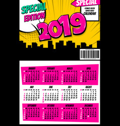2019 retro super hero calendar pop art vector image
