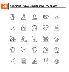25 conscious living and personality traits icon vector