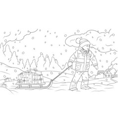 a boy carries gifts on sled vector image