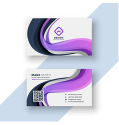 Abstract business card design with purple wavy vector