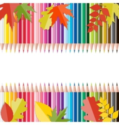 Back to School Background with Leaves and Pencils vector